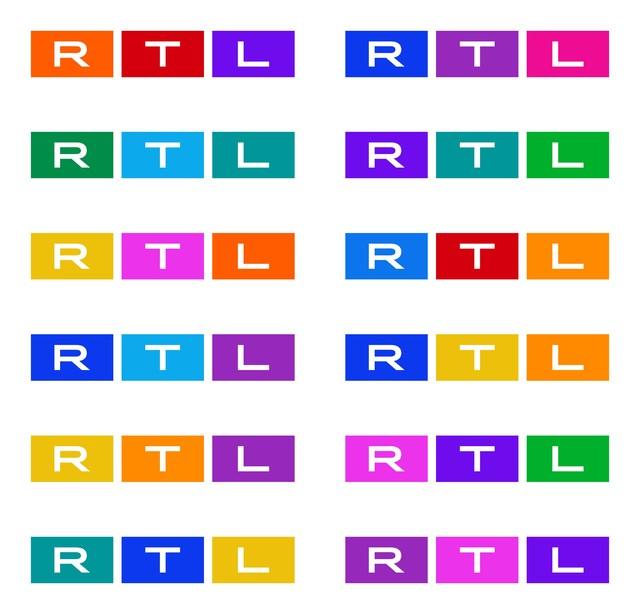 """Beispiele der verschiedenen """"On-Air-Designs"""" des neuen Multi-Color-Logos von RTL Deutschland."""