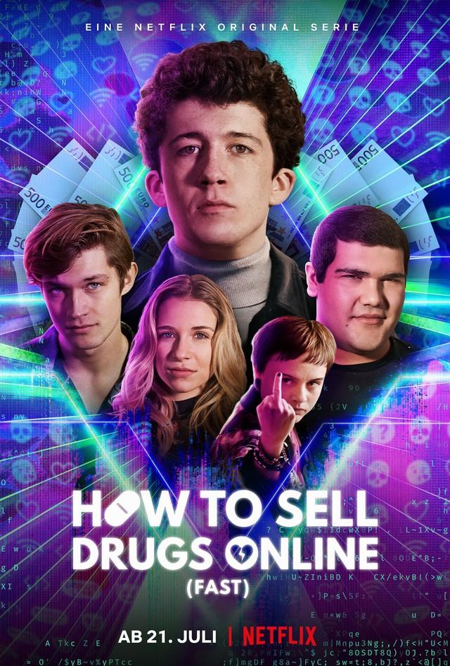 "Der Cast von ""How to Sell Drugs Online (Fast)"": (v. l.) Damian Hardung, Lena Klenke, Maximilian Mundt, Lena Urzendowsky und Danilo Kamperidis"