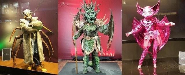 Drei der zehn neuen Kostüme: Die Kakerlake, der Drache und die Fledermaus