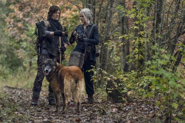 Daryl (Norman Reedus) erzählt Carol (Melissa McBride) von der Zeit, die er vermeintlich allein in der Wildnis verbracht hat.