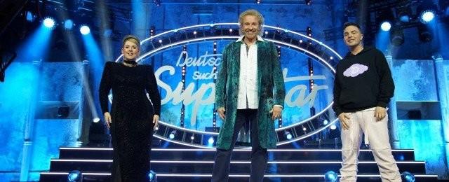 """Die """"DSDS""""-Jury im Finale 2021: Maite Kelly, Thomas Gottschalk und Mike Singer."""