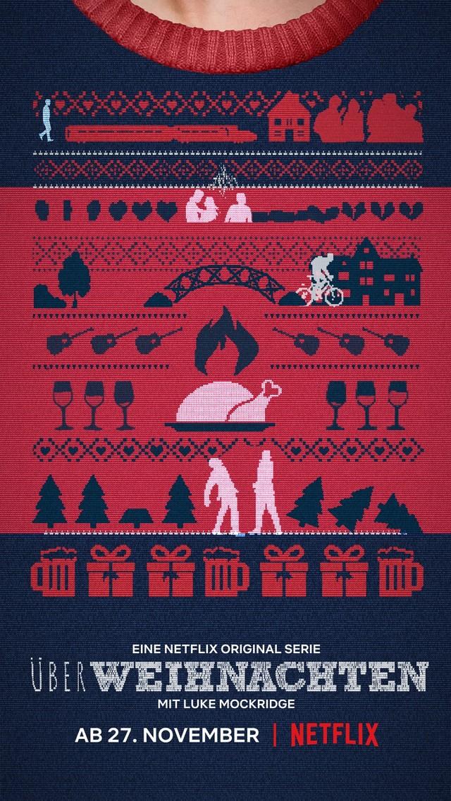 """Das Poster zu """"ÜberWeihnachten"""" erzählt die Handlung der Serie als hässlicher Weihnachtspullover."""