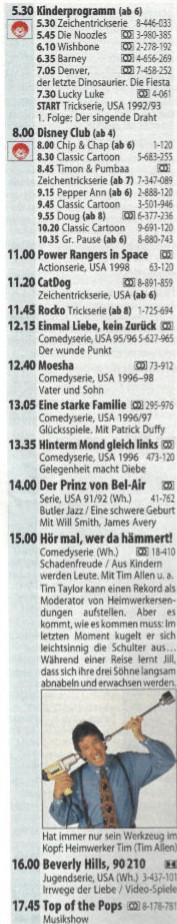 Das RTL-Programm vom 23. Oktober 1999